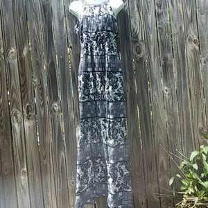 Long sexy sleeveless blue and white dress size 4